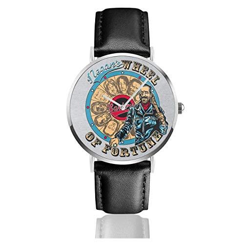 Relojes Cuarzo Cuero Banda Negra Colección Joven Regalo Unisex Business Casual Negans Wheel of Fortune Walking Dead