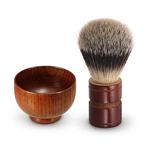 Anself Shaving Brush and Shaving Bowl Set,High Quality Wooden Mens Shaving Kit for Beard Grooming Personal & Professional Shaving