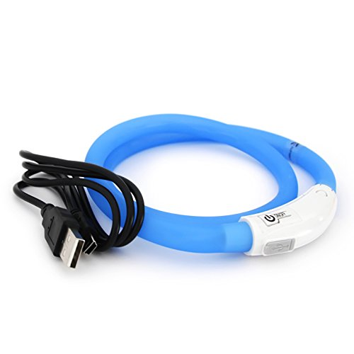PRECORN LED USB Silikon Hundehalsband blau Halsband Hund Katzenhalsband Leuchthalsband für große kleine Hunde aufladbar