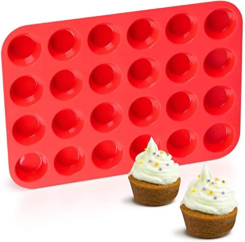 Reusable Silicone Muffin & Cupcake Baking Pan - Mini 24 Cup Top Cake molds/Non Stick, Dishwasher & Microwave Safe (Red)