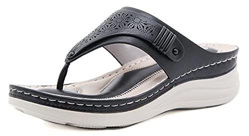 INMINPIN Chanclas de Cuña Mujer Verano Elegante Sandalias de Dedo Cuero Cómodo Plataforma Flip Flop Zapatillas de Playa Interior y Exterior,Negro,36 Mujer