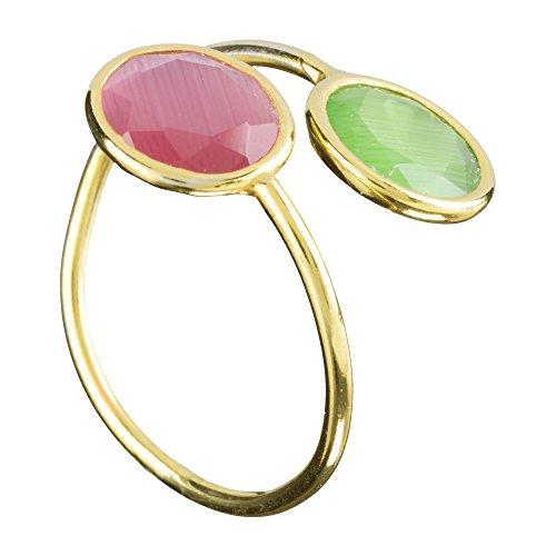Córdoba Jewels   Anillo en Plata de Ley 925 bañada en Oro. Diseño Tú y Yo Luna Esmeralda Rosa de Francia Oro