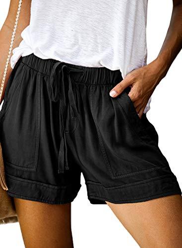 Bequemer Laden Shorts Damen Sommer Casual Lose Sport Elastische Kordeltaschen mit Hoher mit Weitem Bein Taille Beach Training Yoga Laufshorts, Schwarz, L