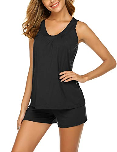 Ekouaer Women's Sleepwear V-Neck Tank and Shorts Pajama and Loungewear Set