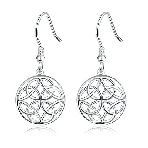 Celtic Knot Drop Earrings, 925 Sterling Silver Irish Knot Earrings Hypoallergenic Dangle Earrings for Sensitive Ears Celtic Knot Jewelry Lovers Gift for Women Mom Wife