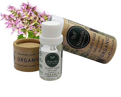 Nativilis Organic Clary Sage Essential Oil (Salvia sclarea) - 100% Natural - 10ml - (GC/MS Tested)