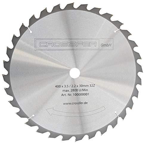 Hartmetall HM Kreissägeblatt 400x30 Z32 für Tischkreissägen, Handkreissägen, Gehrungssägen und Wippkreissägen. Grobschnittsägeblatt für den Längs- und Querschnitt in der Holzverarbeitung und Brennholzverarbeitung