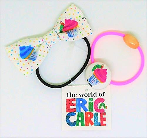 【エリックカール】ヘアゴム(リボン、くるみボタン)2種セット『カップケーキ柄』