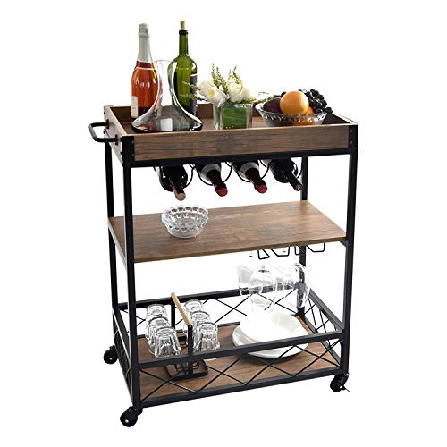 rustic bar carts NSdirect Home Bar Cart,Rustic Bar Cabinet Kitchen Island&Serving Cart Rolling Storage Cart with 3-Tier Shelves,Metal Wine Rack Storage and Glass Bottle Holder,Removable Wood Top Box Container(Brown)