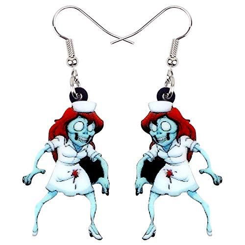 HBHBS Pendientes De Acrílico De Halloween para Enfermera Zombie Drop Dangle Game Party Jewelry para Mujeres Niñas Regalo Charms Accesorios