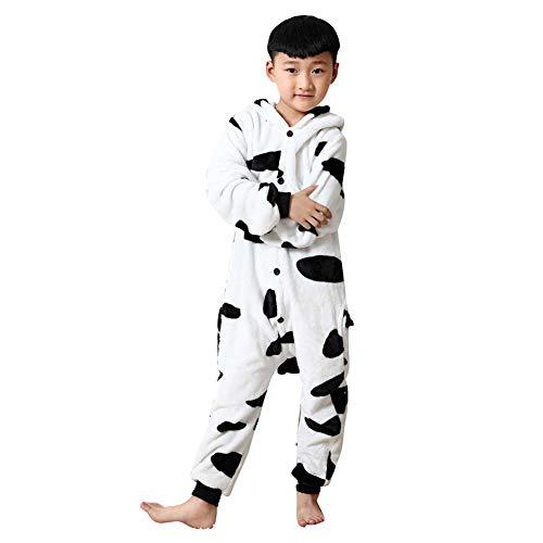 Generic Ropa de bebé otoño e invierno de franela cálida para bebé, traje de una sola pieza con forma de animales de vaca, pijama para niños, talla L
