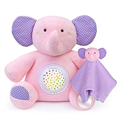 New Upgrade Baby Sleep Soothers, APUNOL Rechargeable Baby Toys White Noise Sound Machine, Nursery Decor Night Light Projector, Toddler Crib Sleep Aid, with 18 Lullabies Baby Shower Gifts Elephant Toy