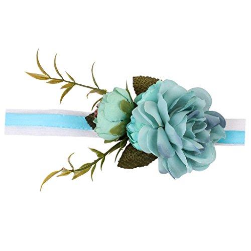 SM SunniMix Bouquet A Braccialetto con Motivo Floreale E Nastro Bouquet da Polso per Sposa Damigella per Matrimonio o Ballo - Blu