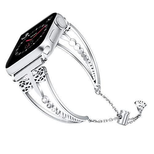 Fhony Correa de Pulsera de Reemplazo Compatible con Apple Watch 38mm 40mm 42mm 44mm Correa Acero Inoxidable Bling Glitter Diamantes de imitación Correa para iWatch Series 6 SE 5 4 3 2 1,Plata,42/44mm