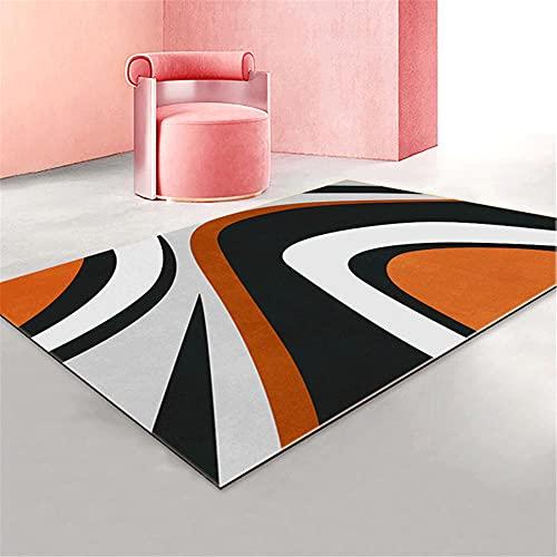 Noir, Blanc, Orange, Motif de Courbe géométrique Abstrait, Tapis décoratif Doux, Facile à Nettoyer et lavable-80x120cm pour Couloir Tapis Moelleux de Salon Modernes adaptés