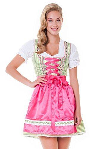 Alpenmärchen, 3tlg. Dirndl-Set - Trachtenkleid, Bluse, Schürze, Gr.34, hellgrün-Fuchsia - ALM3029