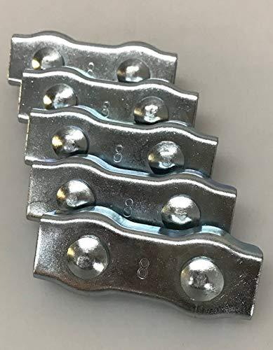 Lot de 5 connecteurs de câble galvanisés Duplex pour cordes jusqu'à 8 mm
