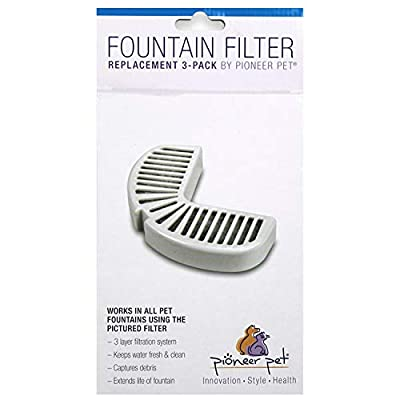 Pioneer Pet Replacement Filters for Ceramic & Stainless Steel Fountains, Raindrop Filters (3 Filters)