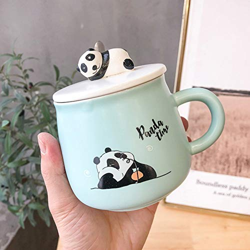 FYUCR Color Panda Heat-Resistant Mug Cartoon With Lid Cat Coffee Ceramic Tea Mug Kids Mug Best Christmas Mug For Friend,Green
