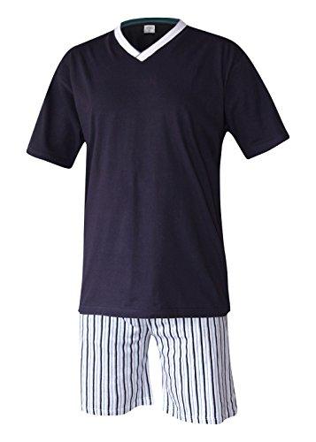 Herren Schlafanzug kurz Herren Pyjama kurz Herren Shorty Schlafanzug aus 100{2d7d5d834a8b5935b6ab542666933a5f657fc98d8b3a5cb8e1319bd514d1b840} Baumwolle (XXXL, Oberteil Rauch blau/Hose gestreift)