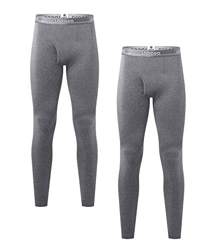 LAPASA Men's Lightweight Thermal Underwear Pants Fleece Lined Long Johns Leggings Base Layer Bottoms 2 Pack M10 (Large, Dark Grey)