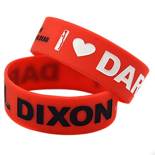 Xlin 1PC 1 Pulgada de Ancho Amo Daryl Dixon The Walking Dead Pulsera de Goma de Silicona (Length : 20cm, Metal Color : Red)