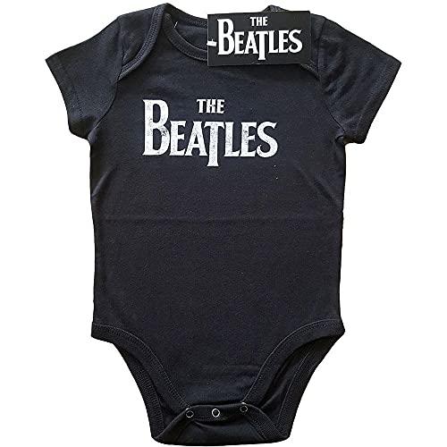 The Beatles Baby Grow Drop - Logotipo oficial de banda en T (0 a 24 meses), color negro