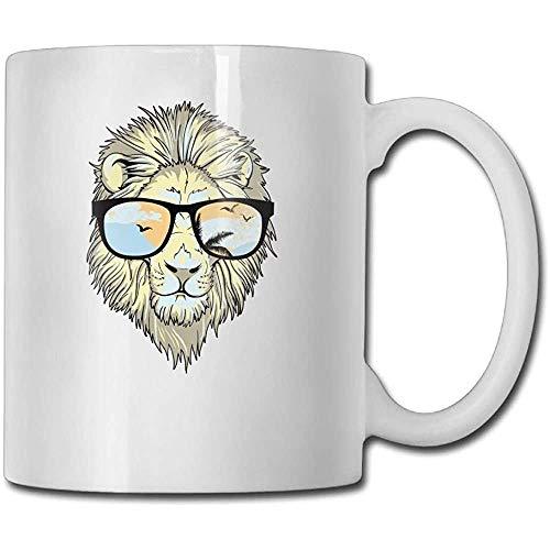 Geweldige Leeuw Hoofd Zonnebril Grappige Koffie Mok Cool Koffie Thee Cup 11 Ounces Perfect cadeau voor familie en vriend