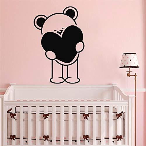 Calcomanía de vinilo con oso de peluche para pared, calcomanía con nombre para niño y niña, decoración de jardín de infantes, calcomanía de decoración para habitación de bebé, pegatina de moda 68x103cm