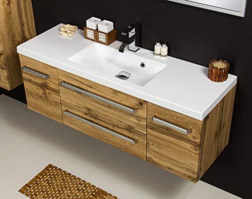 Quentis Badmöbel Genua, Breite 120 cm, Waschbecken und Unterschrank, Eiche Natur, 2 Türen, 2 Schubladen, Waschbeckenunterschrank montiert