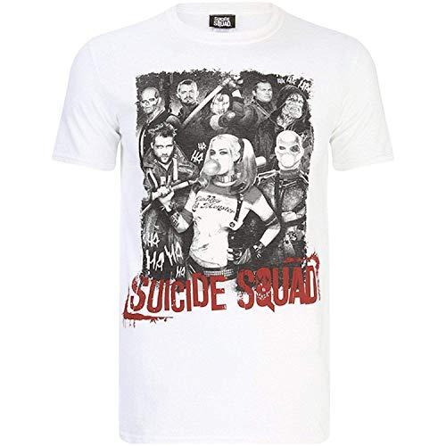 Suicide Squad - Harley Quinn y Team - Camiseta Oficial Hombre - Blanco, Medium