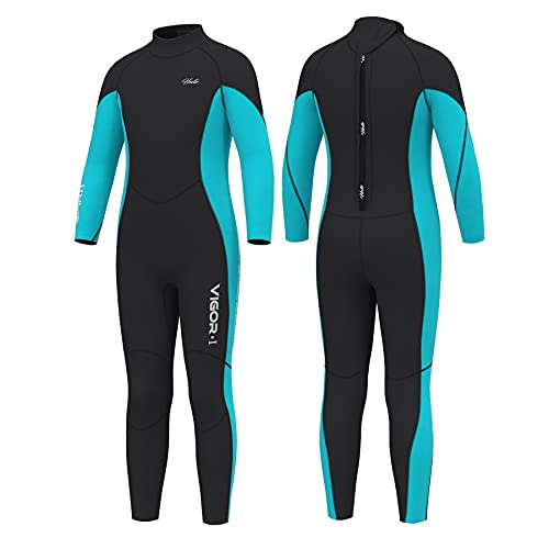 Hevto Wetsuits Kids and Youth 3mm Neoprene Full Suits Long Sleeve Surfing Swimming Swimsuits for Water Sports (KL1-Blue1, 16)