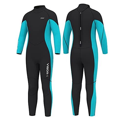 Hevto Wetsuits Kids 3mm Neoprene Full Swimsuit Long Sleeve Thermal Toddler Children Boy Youth Girl for Swimming Water Sports (KL1-Blue1, 6)