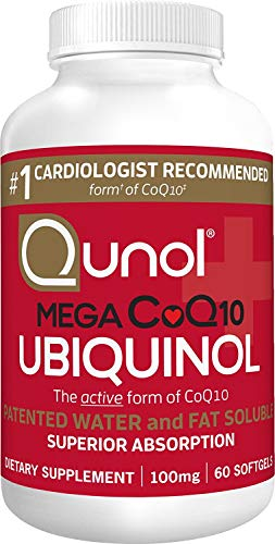 Qunol Mega Ubiquinol CoQ10 100mg, Superior Absorption, Patented Water and Fat Soluble Natural Supplement Form of C0Q10, Antioxidant for Heart Health, 60 Count (Pack of 1) Softgels