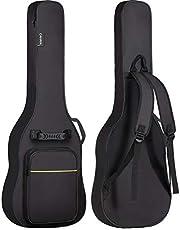 CAHAYA エレキギターケース 簡単版 軽量 ギター ソフト バッグ 8mmスポンジ 肩掛け 手提げ 大容量ポケット 持ち運びに便利 黒い(黄色いストライプ付き)