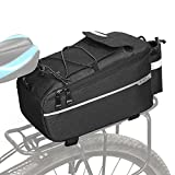 Patgoal Bike Trunk Bag Bicycle Rack Rear Carrier Bag Insulated Trunk Cooler Pack Cycling Bicycle Rear Rack Storage Luggage Pouch Reflective MTB Bike Pannier Shoulder Bag