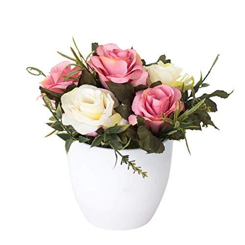 Künstliche Rose Blume Simulation Gefälschte Bonsai Blume Indoor Pflanzen mit Vase Töpfe Dekoration Für Esstisch Badezimmer Haus Büro Party Rose Rot TINGG