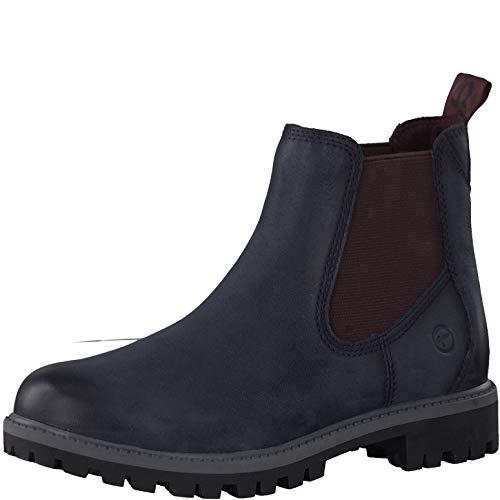 Tamaris Damen Stiefeletten 25401-23, Frauen Chelsea Boots, leger Stiefel halbstiefel Stiefelette Bootie Schlupfstiefel,Navy/Bordeaux,37 EU / 4 UK