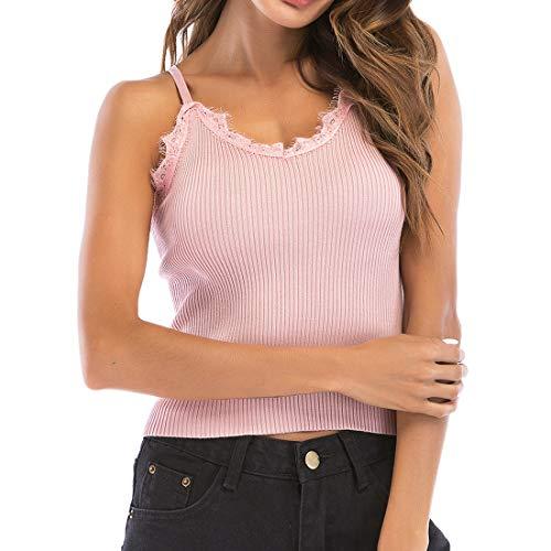 Cubierta para Mujer Tejido de Verano Ahuecado Cuello en V Crochet Verano para Mujer Borla Crochet Camisola Tops de Verano Chaleco con Cuello Halter Sexy Camisas teñidas sin Mangas Blusa ahuecada