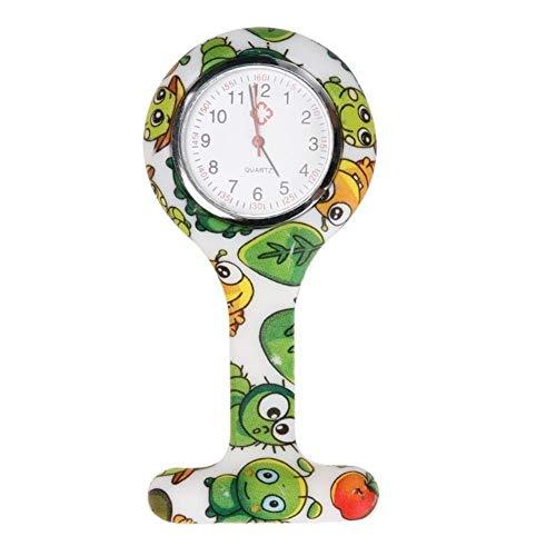 Krankenschwestern Uhren Doktor tragbare Fob Uhr Broschen Silikon Tunika Batterien Krankenschwester-Uhr-Quarz mit Clip (Color : D)