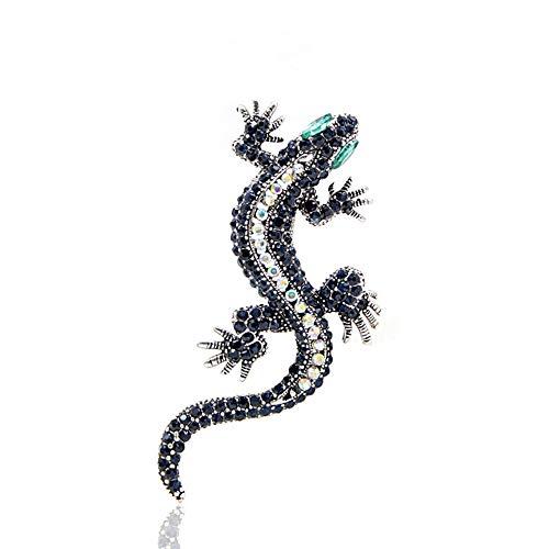 Rhinestone Lagarto broche azul oscuro color amarillo cuerpo verde ojo Gecko broches moda joyería animal estilo Vintage Pin regalo