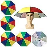 5 piezas Sombreros de Paraguas, Vibury Sombreros de Sombrillas Gorros de Paraguas de Cabeza Sombreros de Pesca Playa para pescar, jardinería, fotografía, senderismo