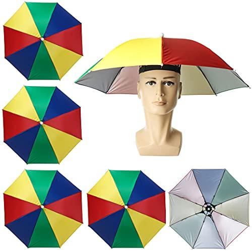 5 Stücke Regenschirmhut, Vibury Faltbarer Sonnenschirm Hut, Kopfschirm Bunt Kopfregenschirm für Dekoration Kostüm Golf Radfahren Angeln Gartenarbeit