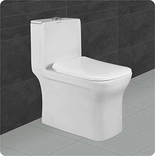 Belmonte Ceramic Floor Mounted One Piece Water Closet/Western Commode/Toilet/EWC Battle S Trap 65cm x 35cm x 70cm (White)