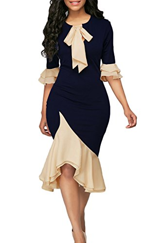 Yacun Women Bodycon Dress Cocktail Work Half Sleeve Bow Tie Party Dresses Darkblue S