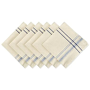 DII 100% Cotton, Oversized Basic Everyday 20x20  Napkin Set of 6, Nautical Blue French Stripe