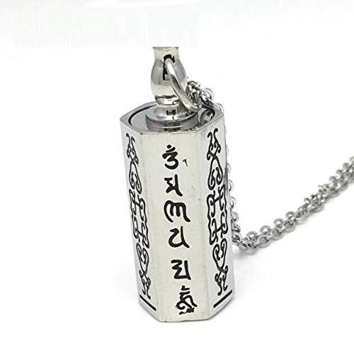 Collar de moda para mujer Cremación cenizas joyería de acero inoxidable collar de cadena colgante de collar de recuerdo puede abrir las urnas estupa budista de sándalo mantra amuleto colgantes del col