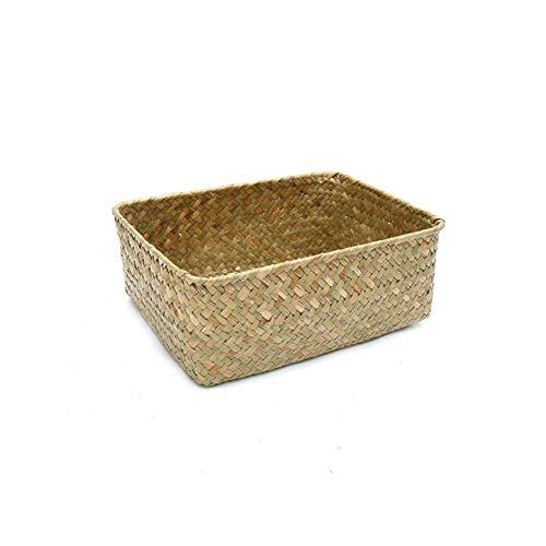 Hecho A Mano Paja Flor De Frutas Basket Basket Caja De Ratán Candy Auricular Organizador Mesa De Almacenamiento Útil (Color : Primary Color, Size : Big)