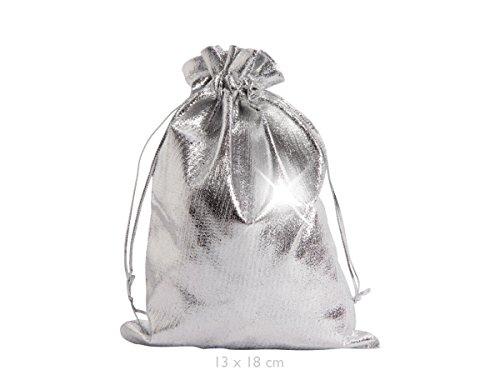 Geschenkbeutel 25 Stück Geschenksäckchen Silber, 13 x 18 cm, Adventskalender Säckchen, Metallic Stoffbeutel, zum Basteln & befüllen von Alsino