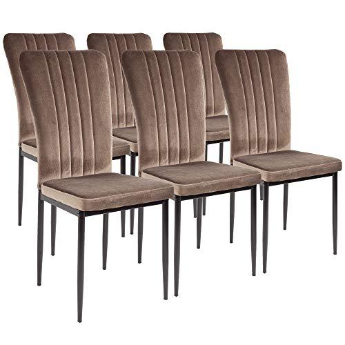 Silla de comedor Albatros Modena, Set de 6 sillas, marrón, certificada por la SGS